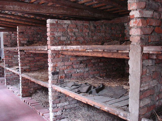 Auschwitz - sleeping quarters. Three persons to a compartment. From Flickr by ryanwood
