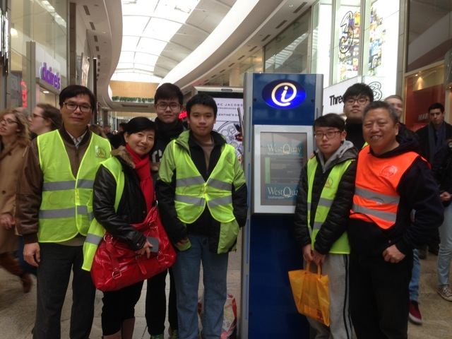 Andy Lai (right) and members from Chinese Association of Southampton at West Quay preparing for the Chinese New Year celebration on 22nd February 2015.