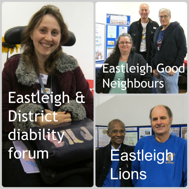 Rachel from Eastleigh & District disability forum; Eastleigh Good Neighbours: Tracy, John Hinxman, David. Eastleigh Lions: Devan Kandiah (left) and Cliff Paffett.
