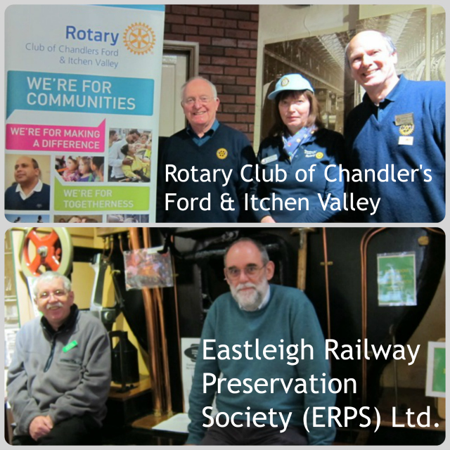Rotary Club: Mike Scrivener (left), Elizabeth Hill,  Ian Phillips. Eastleigh Railway Preservation Society: Derek Doling (left), Neil Kearns.