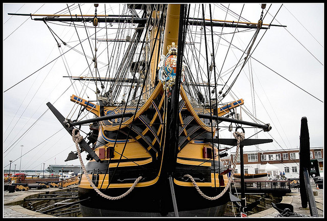 "HMS Victory at Portsmouth Naval Dockyard by <a href=""https://www.flickr.com/photos/chalkie_circle2000/2542892400/in/photolist-4SGZjq-6dSg4W-4ML9xk-7kcgNr-fq4mfL-4ML8Ln-4MQjAY-fq4CG7-fpPpw2-tE5BS-jxZmZg-fq4JS3-fq4GiY-8F1yCP-feE25X-87Q4DM-feDQ5R-ffAZaj-fq4KGC-fq4Fpd-feYTKu-bxe3-7Zjys4-ffk1s2-feLtra-ff1KV5-feLrJp-kh1bHR-nxGF3L-ff1MCC-feLqYX-fq4Ha3-5K4xD2-5WFLwV-4q5TtL-8phXGP-aymgR2-6QP47m-tE67J-fpPjF6-fpPcug-fq4A79-fq4BQm-fpPtsx-aymJW8-fpPbiZ-fpP9He-jy1tga-feUcCN-4MQjiE"">Chalkie</a> via Flickr."