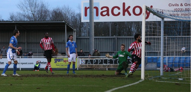 Jack Midson (left) scores his 2nd and Eastleigh's 3rd of the afternoon.