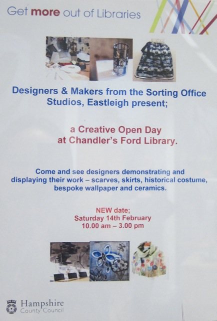 The Sorting Office Creative Open Day 14th Feb 15 at Chandler's Ford Library.