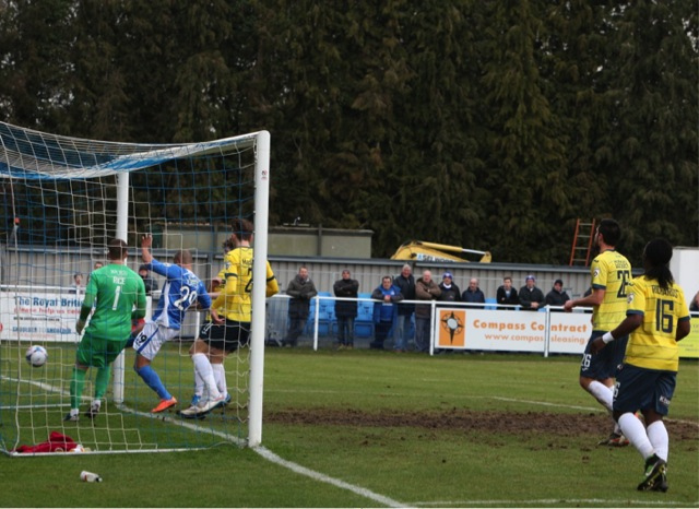 Deon Burton taps in his first goal for Eastleigh.