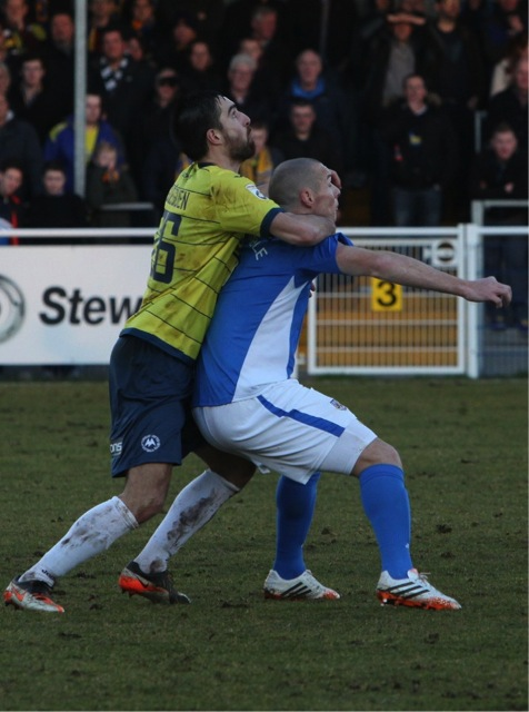 Eastleigh's James Constable gets some unwanted attention.