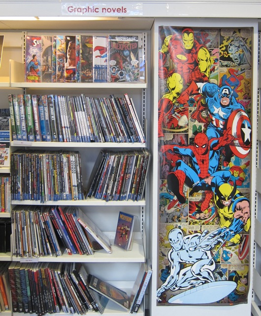 Cool graphic novels and comics in Winchester Library.