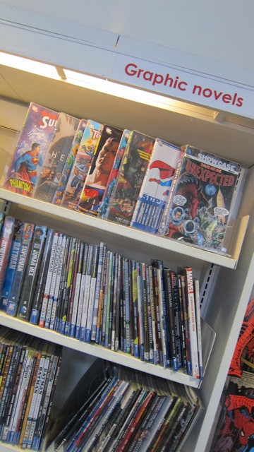 Some of the graphic novels in Winchester Library.