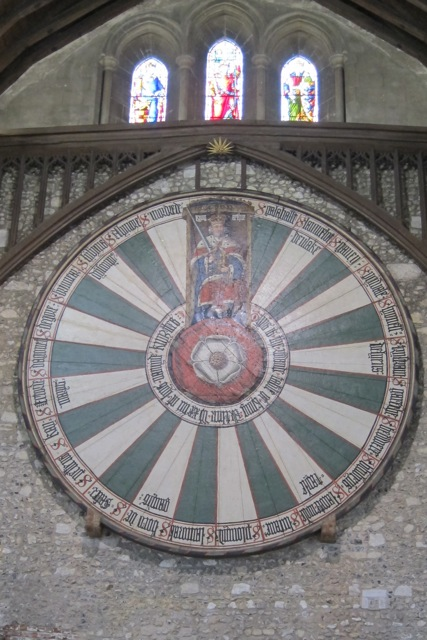 The round oak table at the Great Hall in Winchester is painted with Tudor rose.