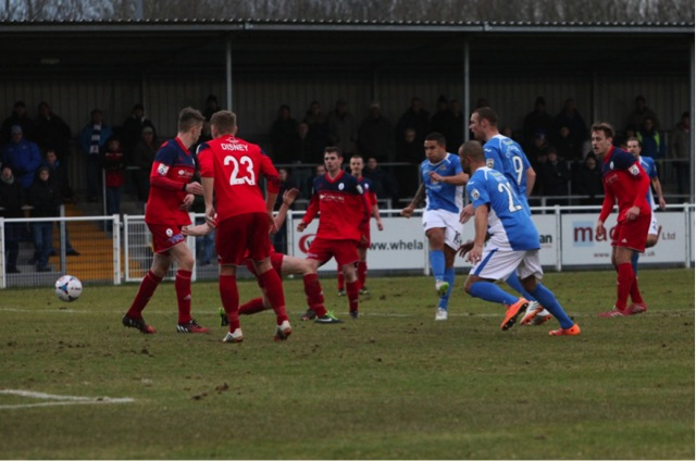 No 10 Jai Reason gets a goal back for Eastleigh.