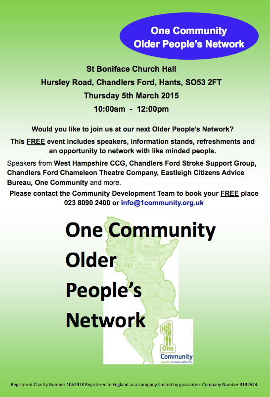 One Community - Older people's network: Thursday 5th March 2015 at St. Boniface Church, Chandler's Ford.