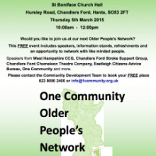 One Community Older People's Network – Chandler's Ford 5th March 2015