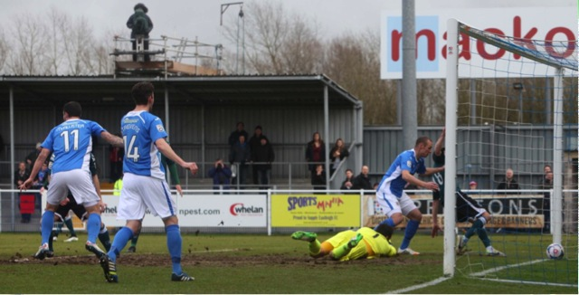 Harry Pell's deflected header opens the scoring for Eastleigh.. Eastleigh 4 Macclesfield Town 0; 12:45 Saturday February 28th 2015