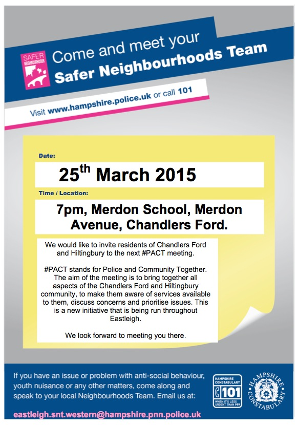 Next #PACT meeting: Wednesday 25th March 2015 at 7pm at Merdon Junior School