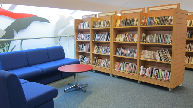 Nice seating area in Chandler's Ford Library.