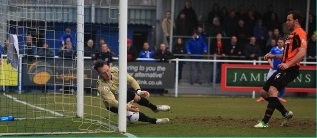 Eastleigh's McAllister is denied by the Barnet keeperEastleigh's McAllister is denied by the Barnet keeper.