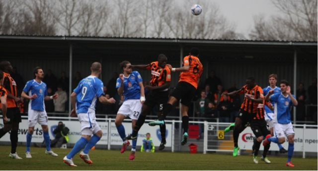 Eastleigh's No 27 Harry Pell goes close