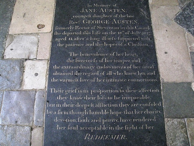 "Jane Austen 's burial site in Winchester Cathedral. Image by <a href=""https://www.flickr.com/photos/hunky_punk/6897628279/in/photolist-bvw9zv-6yDsX3-6Ptvcz-p4KVkk-6yzk7c-6yDuD1-p2Zhxw-564Pfu-9H1wBF-cto12u-dndyZe-dndBws-fbvKjo-dndz4V-9H1gdT-4GKyLb-dndBAU-RA8oA-9GTpTd-dhpDeK-nS78PX-fbgtag-iSm7sX-iSoyM9-dhCxjd-dhCDAb-dhCDbM-dhCCTz-dhCxyq-aBkPw4-dv8E6j-cyR2tU-cyR33C-cyR2Lb-95R3zk-95R1rF-4aETyg-ELJy3-8S5JUr-fnVNJ9-6ZfpTC-aBownJ-4isik9-4isi85-76syLf-8b8iv4-jKNkAc-pCofYY-dWvPU8-eJtCCa"">Spencer Means </a> via Flickr."