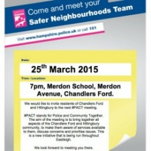 Chandler's Ford and Hiltingbury #PACT Meeting: Wednesday 25th March 2015 7pm Merdon School