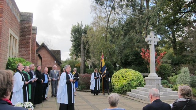 Barbara Hillier attended the re-dedication service of Chandler's Ford War Memorial on Sunday 19th October 2014 at St. Boniface Church.