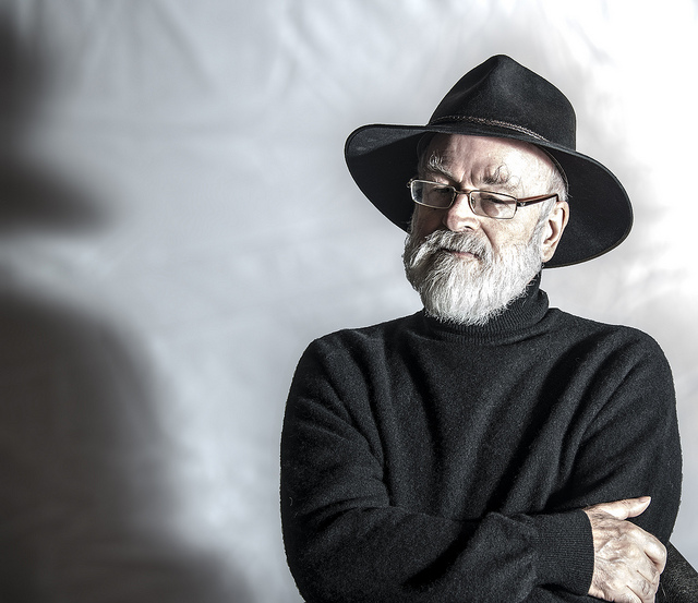 "Sir Terry Pratchett. Image by <a href=""https://www.flickr.com/photos/steeljam/8714898402"">Steve James</a> via Flickr."