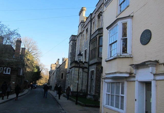 8 College Street, Winchester: This mustard-coloured building on the right was Jane Austen's house. She lived her last days and died on 18th July 1817.