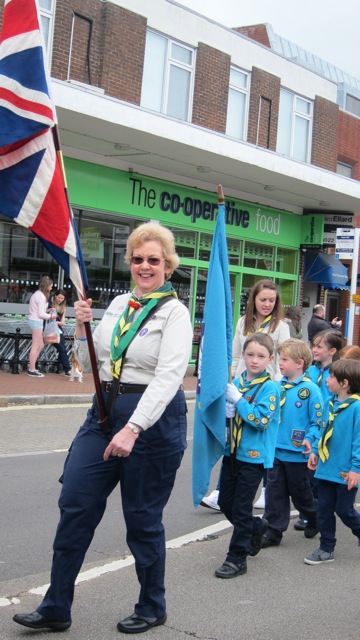 Cecily Casey with her 1st Hursley Scout Group.
