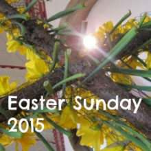 Easter Sunday cross decorated with daffodils St. Boniface Church Chandler's Ford