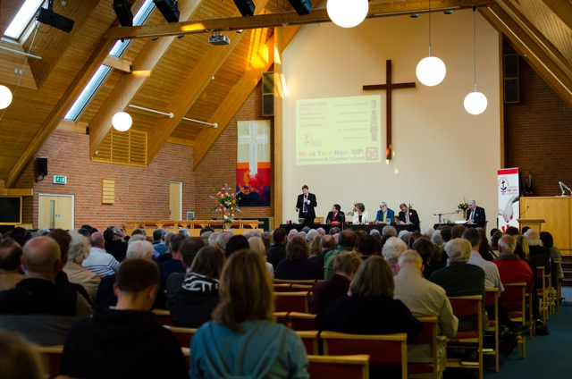 Huge turnout for the hustings at Chandler's Ford Methodist Church. Image: Alan Fry.
