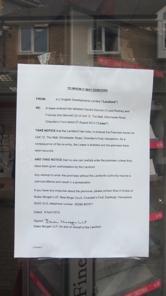 Notice issued by the landlord to Gibson Card Gallery Chandler's Ford.