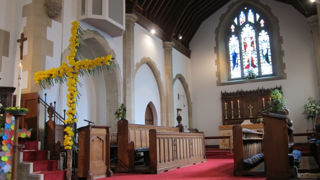 St. Boniface Church - Easter Sunday 2015: beautiful cross decorated with daffodils.