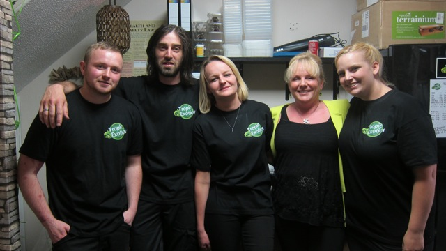 People who work in Tropic Exotics in Eastleigh: (from left to right): Tom, Alex Westgarth (manager), Sara, Shirley Bell (owner), and Jade.