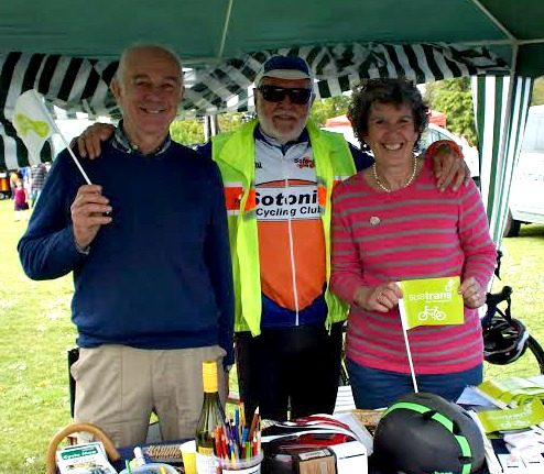 "Jackie Potter with Grahame Smith (centre) and Councillor James Duguid (left) at the stall with <a href=""http://www.sustrans.org.uk/"">Sustrans</a>."