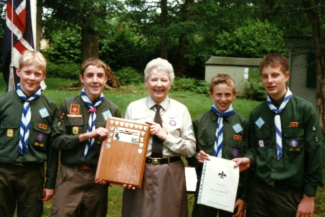 Lyn Darbyshire with some of the 2nd Ramalley Scout Troop.