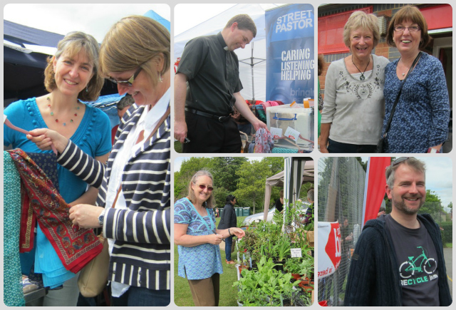 "Sara Goodhead and Sue Wakelin were selling scarves for Christian Aid. Rev. Peter Cornick was debating which scarf to buy for his wife. <a href=""http://chandlersfordtoday.co.uk/from-chandlers-ford-to-kenya-with-love/"">Susan Gulliver</a> helped at the plant stall. Diana and Carole were helpers at the food and drinks stall. Chandler's Ford Christian Aid committee Stephen Dominy at the football match."