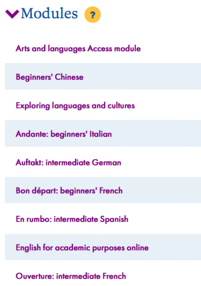 Some of the OU language modules.