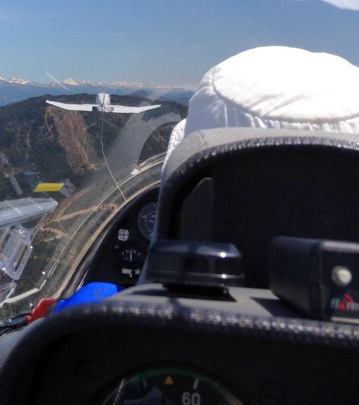 The tow plane takes us to the mountains.