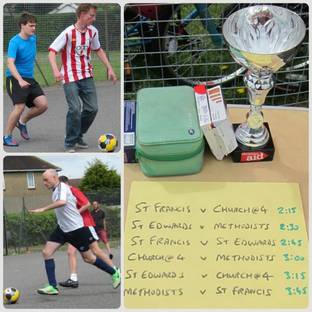 Chandler's Ford inter-church football match at Fryern Funtasia 2015, for Christian Aid.
