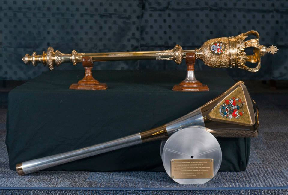 The Ceremonial Maces for Mayor of Eastleigh - old and new. ©Chris Balcombe