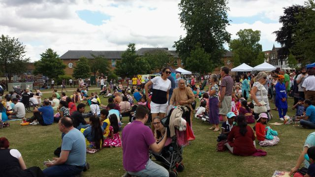 10th Eastleigh Mela Crowds on grass Cecily Casey