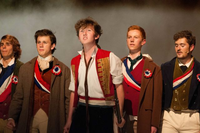 Enjolras Cameron Alexander rallies the troops. Barton Peveril College's production of Les Misérables, 2015.