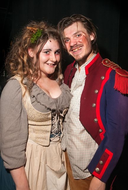 Madame Thénardier and Thénardier: Jennifer Walker and James Taylor.Barton Peveril College's production of Les Misérables, 2015.