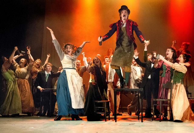 Master of the House: James Taylor plays Thénardier. Barton Peveril College's production of Les Misérables, 2015.