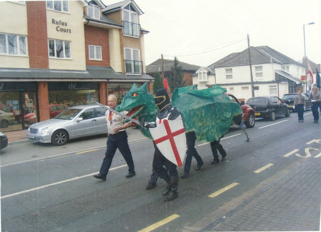 St. George's Day parade: Winchester Road, Chandler's Ford.