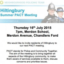 Hiltingbury Summer PACT Meeting: Thursday 16th July 7pm Merdon School