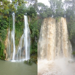 The waterfall at Sillans la Cascade. Before and after the storm.