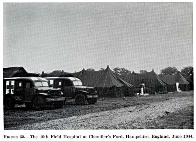 "46th Field Hospital Chandler's Ford 1944. Image credit: U.S. Army Medical Department Office of Medical History. <a href=""http://history.amedd.army.mil/booksdocs/wwii/actvssurgconvol2/"">Office of Medical History</a>."