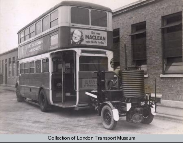 Bus with Gas Burner Trailer during WW2.