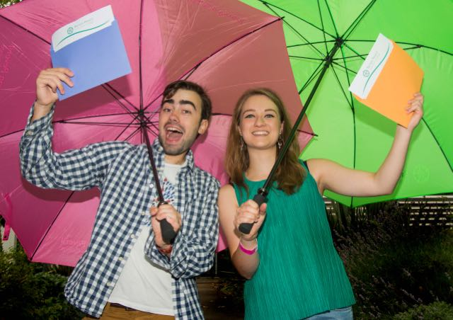 Sunshine celebrations despite the rain. Ollie Yeats-Brown and Beth Cooper at Barton Peveril. Image: Andy Brooks