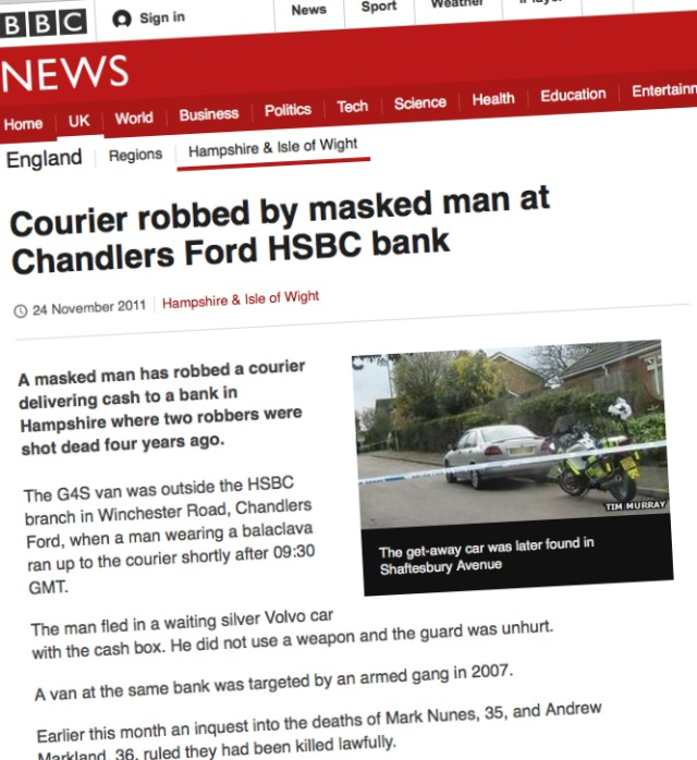 BBC HSBC robbery 24th November 2011