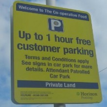 1 hour? 3 hours? Parking Rules at Co-operative Food and Fryern Arcade in Chandler's Ford